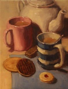 Oil on Linen Simple Oil Painting, Food Painting, Pastel Colors, Colours, Stop The Rain, Cornishware, Medicine Bottles, Christmas 2019, Food And Drink