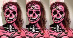 Pop Art Painting Skull 50 New Ideas Art Halloween, Zombie Halloween Costumes, Amazing Halloween Makeup, Halloween Eyes, Zombie Face, Zombie Makeup, Sfx Makeup, Pop Art Zombie, Artistic Make Up