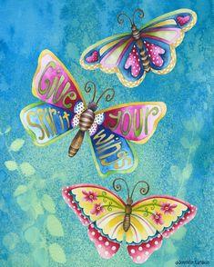 Give Your Spirit Wings. Artwork by Jennifer Lambein Butterfly Art, Butterfly Species, Butterfly Project, Butterfly Quotes, Whimsical Art, Beautiful Butterflies, Bunt, Illustration Art, Artsy