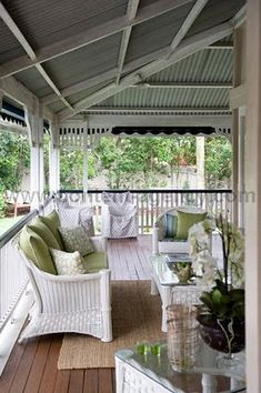Veranda of a Queenslander home - outdoor living area. White Wicker Furniture, Outdoor Furniture Sets, Adirondack Furniture, Wicker Chairs, Outdoor Rooms, Outdoor Living, Outdoor Decor, Queenslander House, Porch Veranda