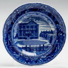 "Northeast Auctions 8/20/16 Lot: 53.   Estimate: $600 - $800. Realized: $540 (450).  Description: 'SCUDDER'S AMERICAN MUSEUM: ACORN AND OAK LEAF BORDER SERIES,' STAFFORDSHIRE DARK BLUE TRANSFER-PRINTED CUP PLATE, RALPH STEVENSON & WILLIAMS, COBRIDGE, CIRCA 1825. Exceptionally crisp & well-defined print, printed flower & ""R.S.W."" ribbon factory and title mark in underglaze-blue. 4 ¼"" dia. Provenance: William & Teresa Kurau Antiques, Lampeter, Pennsylvania, November 10, 2004."