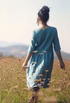 Tyrkysově modré šaty lněné (velikost S)   Zboží prodejce by Caldero 6cc8599251