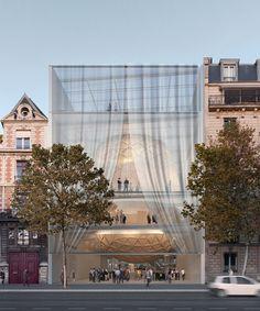 shigeru ban integrates concert venue and food hall in réinventer paris proposal