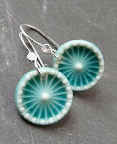 Porcelain Earrings - Carousel in Deep Turquoise  by RoundRabbit, via Flickr