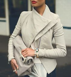 The perfect cream leather jacket! I DIE!