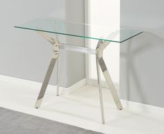 Etonnant Furniture, Small Modern Console Table Design With Glass Top And Stylish  Chrome Base Ideas ~ Glass Console Table