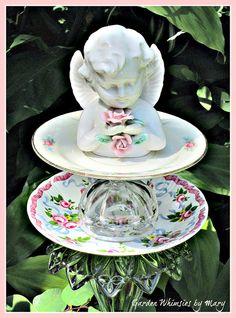 Rose Cherub Garden Totem Stake  As by GardenWhimsiesByMary on Etsy, $35.00