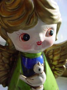 Vintage Angel Figurine w Bird 1960's Christmas HH Japan Paper Mache Midcentury