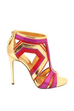 Casadei Gold Pink Red Metallic Sandal  RTW Fall 2014 #Shoes #Heels