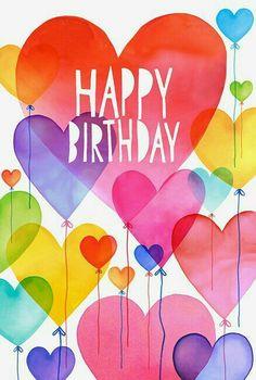 Balloons, hearts, Rainbow happy birthday
