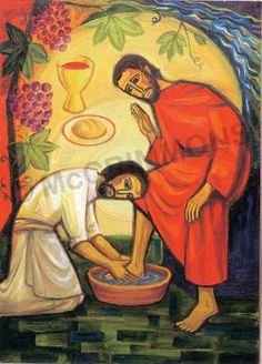 Jesus Our Way: The Washing of the Feet - Banner Christian Images, Christian Art, Bible Illustrations, Illustration Art, Image Jesus, Jesus Calms The Storm, Prayer Images, St Pierre, Jesus Painting
