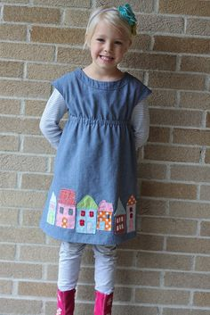 LOVE this! Oliver and S Roller Skate Dress with houses appliqued at the bottom