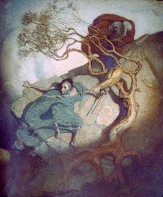 Loviatar, Finnish Goddess of Desolation, Death, and Decay, spins on a hillside. Painted by the Finnish artist Gallen-Kallella. Illustrations, Illustration Art, Raise The Dead, Figurative Art, Faeries, Fairy Tales, Fairy Dust, Cool Art, Death