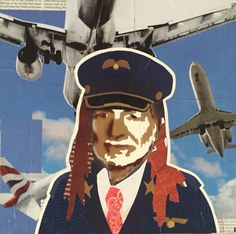WILLIE AS PILOT — 12 x 12in — Mixed Media on Board -- CONTACT: annegenung@gmail.com