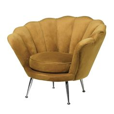 Our Mustard Velvet Petal Chair is a stunning statement piece. With its Art Deco inspired curved back, deep upholstered cushion and modern chrome metal legs, this rich velvet chair radiates pure elegance and class. Furniture Near Me, Bespoke Furniture, Furniture Styles, Luxury Furniture, Cool Furniture, Luxury Chairs, Furniture Movers, Furniture Design, Contemporary Armchair