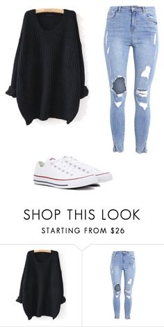 """Sin título #110"" by camu-irwin on Polyvore featuring moda, WithChic y Converse #schooloutfits"