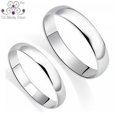 3f2474fd1970 100% Real 925 Pure Silver Classic Simple Plain Design Lovers Rings For Man    Woman