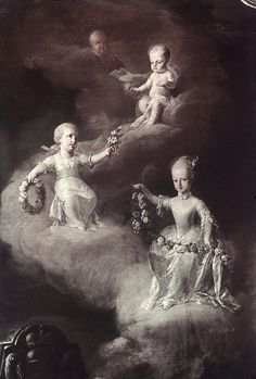 Archduchess Maria and her sisters both named Maria Carolina. The three daughters of Empress Maria Theresa to die as young children.
