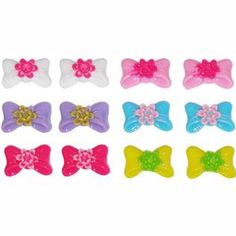 Set of 6 Pairs Bow Studs with Flower Center; fabuless.com