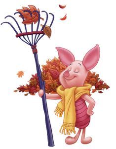 Disney's Piglet with autumn leaves falling Clip art Image --> Disney ...
