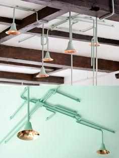 Creative Lighting, Forest, Light, Ontwerpduo, and Lamp image ideas & inspiration on Designspiration Pipe Lighting, Unique Lighting, Pendant Lighting, Lite Brite, Loft Interior Design, Interior Decorating, Retail Interior, Interior And Exterior, Architecture Design