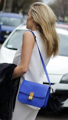 celine blue leather handbag classic