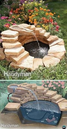 DIY Garden Fountain Landscaping Ideas & Projects with Instru.- DIY Garden Fountain Landscaping Ideas & Projects with Instructions DIY Concrete Fountain Instruction – DIY Fountain Landscaping Ideas & Projects - Concrete Fountains, Diy Garden Fountains, Diy Fountain, Garden Fountains Outdoor, Front Yard Fountains, Landscape Fountains, Rock Fountain, Water Fountain Design, Indoor Water Garden