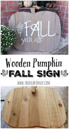 How to Make a Wooden Pumpkin Fall Sign is part of Fall crafts Signs - Create a welcoming wooden pumpkin fall sign for your front porch with just a few pieces of scrap wood and this step by step tutorial Pallet Crafts, Wooden Crafts, Wooden Diy, Wooden Signs, Diy Crafts, Wooden Pumpkin Crafts, Pallet Art, Wooden Pumpkins, Fall Pumpkins