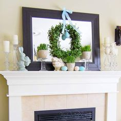 Blue, Green & Cream Easter Mantel