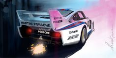 Martini Racing Porsche Baby / digigraphie sur toile tendue sur châssis bois /80x50cm / série de 8 exemplaires signées et numérotés / avec certificat d'authenticité