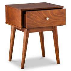 <p>Go retro with a Mid-Century Modern Side Table. This chic end table sports the classic clean and simple sweeping lines of the mid-century modern design style from the 1950s. It's made of durable wood materials with a large drawer for stashing remotes, magazines, coasters and more. It also has a wide flat surface for a table lamp and displaying decorative objects. Tuck it at the end of your sofa or next to a lounge chair to add charm to your space in seconds.<...
