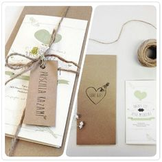 """""""Wedding invites hot off the press and in the mail! Featuring rustic and organic elements as requested by the client! #peepdesigns #creative #rustic #weddinginvites #yarn #brownpaper #pretty #design #unique #happy"""""""