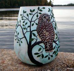 Barred Owl Vase Pinned by www.myowlbarn.com