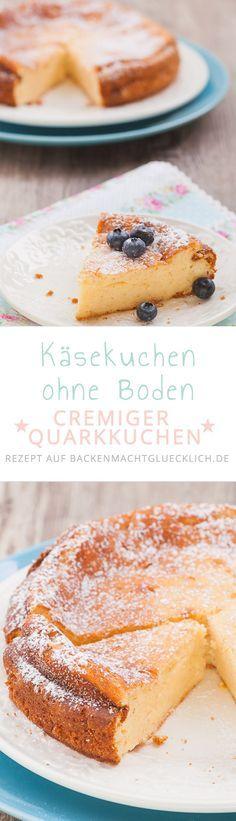 Extrem cremiger Käsekuchen ohne Boden - bei diesem leckeren Quarkkuchen-Rezept kann niemand Nein sagen! | www.backenmachtgluecklich.de