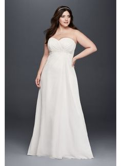 Plus Size A-Line Wedding Dress with Beaded Waist 9OP1301
