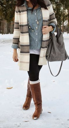Steven Madden boots, old navy sweater, chambray button up!