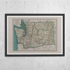 WASHINGTON STATE MAP - Vintage Map of Washington State - Antique Map Print…