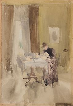 "uconstruction: "" ""James McNeill Whistler (1834–1903 American) • Note in Opal - Breakfast 1883 or 1884 - Watercolor on paper; "" """