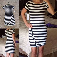 Love Love Love this dress. Loveappella Zola Asymmetrical Striped Dress from Stitch Fix