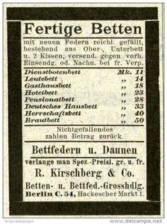 Original-Werbung/Anzeige 1903 - FERTIGE BETTEN / KIRSCHBERG / BERLIN - HACKESCHER MARKT - ca. 45 x 65 mm