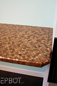 it would be cool to try a penny table top for a small side table. or make a penny monogram letter for decoration. Do It Yourself Furniture, Diy Furniture, Dream Furniture, Penny Countertop, Kitchen Counters, Penny Backsplash, Kitchen Floor, Kitchen Tiles, Diy Kitchen