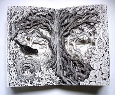 Nest in the Woods Altered Book