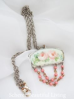 Vintage China Rose Jewelry Chic Necklace Shabby Made From All Salvaged Materials Wedding