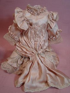 Beautiful Mauve Pink Silk and Lace Dress and Bonnet for Antique French Bebe 17 In. Tall; Rusching, Scallops, Handstitching, Bretelles