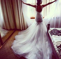 Mermaid wedding dress plus little straps. Perfect
