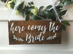 Here comes the Bride flower girl sign ring by WoodSignStudio