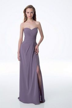 Elegant bridesmaid dress - Chiffon strapless gown with a sweetheart neckline. Pleated criss-cross bodice with a pleated cummerbund accenting the waist. Skirt is embellished with off-center pleats and side slit. Style 989 by @billlevkoff.
