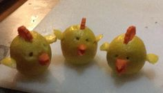 Lemon carved peeps \ chickens   tops and beaks are carrot