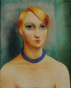 Moïse Kisling (French, 1891-1953) - The Blue Collar Woman, 1920s