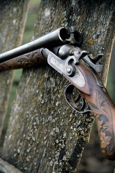 Double barrel shotgun with exposed hammers and engraved stock